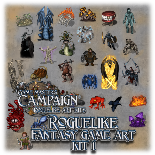 "Roguelike Fantasy game art kit 1 - ""Characters, Monsters, Creatures, Items & Objects"""